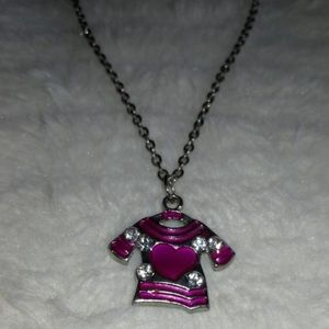 Jewelry - Silver Chain With Magenta Shirt Charm